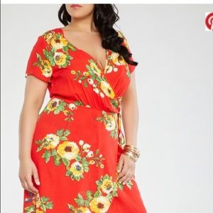 Red Floral High Low Dress